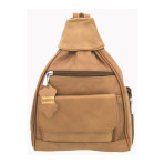 Cowhide Leather Backpack-Tan