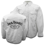 Mens Jack Daniels White Fashion Label Long Sleeved Button Shirt